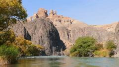 Charyn Canyon River Autumn Reflection Charyn River Kazakhstan Season 4K Stock Footage