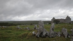 WS PAN Old Ruined Stone House / Ireland Stock Footage