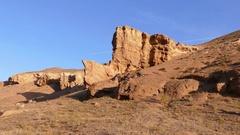 Charyn Canyon Rock Rhino 4K Stock Footage