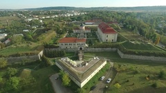 Aerial shooting of the Zolochiv castle Stock Footage