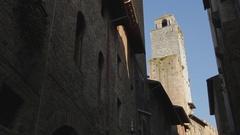 WS LA PAN Old Brick Buildings / Siena, Italy Stock Footage