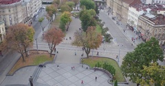 Aerial Shooting on the main street of the city Stock Footage