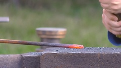 Forging on anvil by hammer Stock Footage