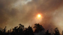 Grim, depressing and worrying red sun and smoke during fire. Stock Footage