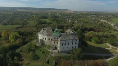 Aerial shooting of the Olesko castle Stock Footage