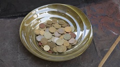 CU TU Pot of Coins with Artwork on Sidewalk / Florence, Italy Stock Footage