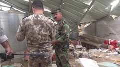 November 2016: Mosul troops, Soldiers communicate among us, ISIS war, Syria Stock Footage