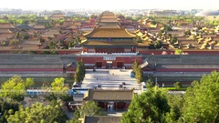 View over Forbidden City in Beijing, China Stock Footage