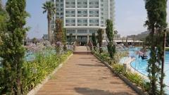 Promenade towards the hotel in Kusadasi, Turkey Stock Footage