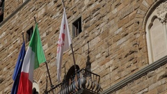 MH LA TD Italian Flags and Statue of Michelangelo's David / Florence, Italy Stock Footage