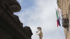 MH LA LD Palazzo Vecchio and Statue of Michelangelo's David / Florence, Italy Stock Footage