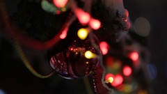 New Year and Christmas street decoration on a fur-tree. Stock Footage