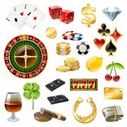 Casino Equipment Symbols Accessories Glossy Set Stock Illustration