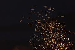 Bonfire spark in the dark sky in night Stock Photos