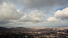 Timelapse of clouds passing over the city of Barcelona, as seen from Collserola. Stock Footage