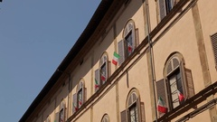 MH LA TD Building with Italian Flags / Tuscany, Italy Stock Footage
