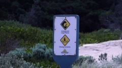 Wonthaggi, Australia: Security Sign. Unexpected Large Waves Stock Footage