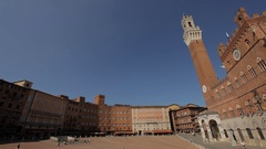 WS PAN Buildings in Town Square / Siena, Italy Stock Footage