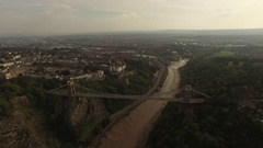 Bristol Clifton Suspension Bridge aerial backward motion Stock Footage