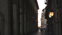 WS LD People Walking down Narrow Street / Florence, Italy Stock Footage