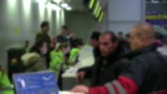Airport Passengers At Ticket Counter Stock Footage