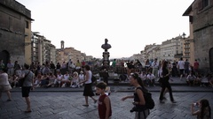 WS LD People Walking Along Ponte Vecchio Bridge / Florence, Italy Stock Footage