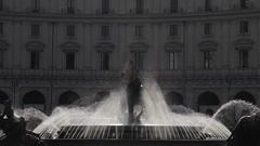 MH LD Cars Driving by Fountaina Della Naiadi in Piazza Della Repubblica / Rome, Stock Footage