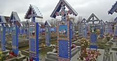 Merry Cemetery in Sapanta, Romania Stock Footage