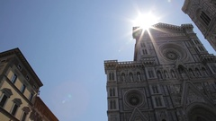 WS LA PAN Santa Maria Del Fiore Cathedral with Sun Flare / Florence, Italy Stock Footage