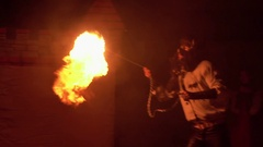 Fire show breather spitting flame. Slow motion Stock Footage