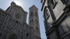 WS LA DS Santa Maria Del Fiore Cathedral with Sun Flare / Florence, Italy Stock Footage
