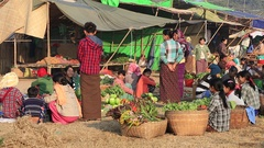 People buy and sell vegetable and fruit on street food market, Burma, Myanmar Stock Footage