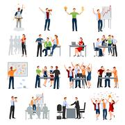 Startup People Flat Icons Collection Stock Illustration