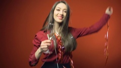 New Year Party Brunette Girl Stock Footage