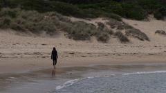 Wonthaggi, Australia: Girl in black Cloths walking on the shore Stock Footage