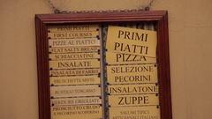 MH TD Italian menu on wall / Tuscany, Italy Stock Footage