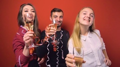 New Year Friends Party Stock Footage