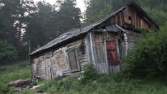 Ancient hut. Old wooden house. Summer. Russian Siberia. Stock Footage