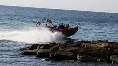 Extreme boat trip. Ako port waters, Mediterranean Sea Stock Footage