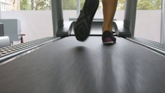 Feet of girls in sport shoes training indoor at sport club. Close up Stock Footage
