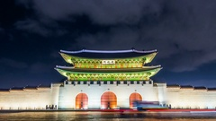 Time lapse of Gyeongbokgung palace and traffic at night in Seoul,South korea. Stock Footage