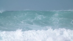 Giant Blue Ocean Wave in in Slow Motion Stock Footage