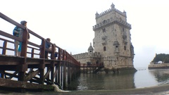 Belem Tower In Tagus River Lisbon, Portugal Stock Footage