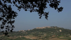 WS Landscape with town on horizon / Montepulciano, Tuscany, Italy Stock Footage