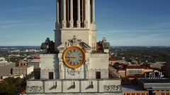 University of Texas Austin Clock Tower Aerial Stock Footage