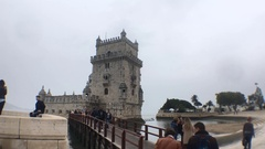 Famous Belem Tower In Lisbon, Portugal Stock Footage