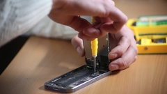 Repairman workplace with phone and special tools Stock Footage
