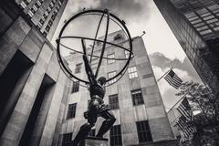 Vintage toned statue of Atlas in New York City's Fifth Avenue Stock Photos