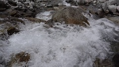 Rapid Descent Splashing Over Head Creek Water Stock Footage