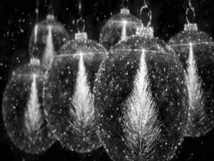 White Christmas Balls Bauble Ornament with Fir Tree background loop 4k Stock Footage